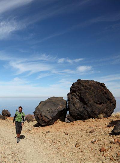 Man hiking in wild nature on Teide, Tenerife