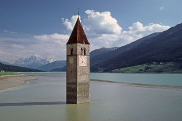Churchtower in the lake
