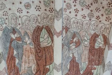 a multitude of women in medieval clothing, an ancient...