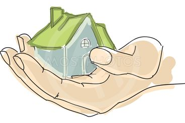 Drawn humans hand holding house with green roof