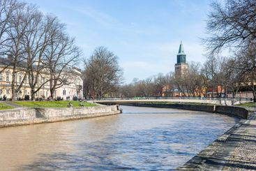 Turku, Finland - 12-05-2021: People enjoying a sunny...
