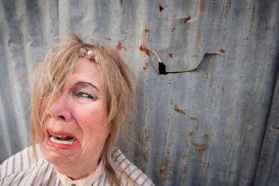 Homeless Woman Crying