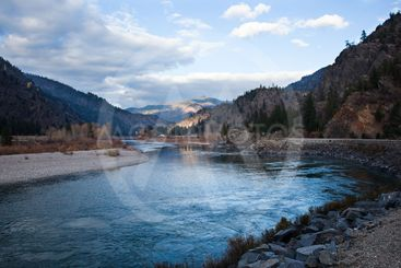 Dramatic River and Mountain View