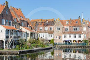 Cityscape Enkhuizen, Dutch historic city at lake IJsselmeer