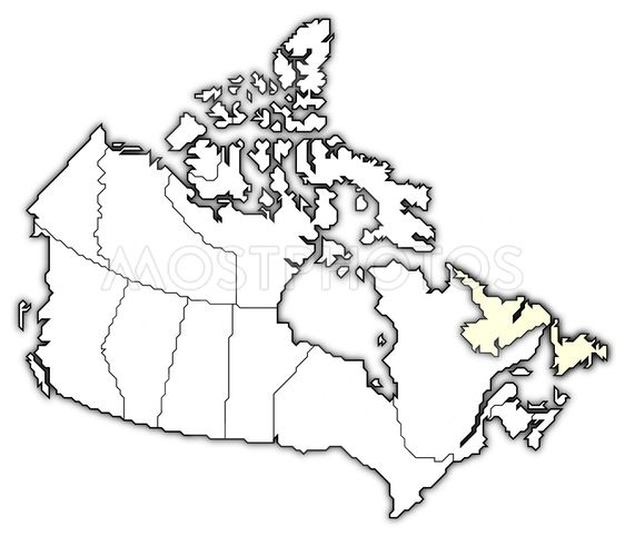 map of canada newfoundland by steffen hammer mostphotos Map Newfoundland Island Canada map of canada newfoundland and labrador highlighted