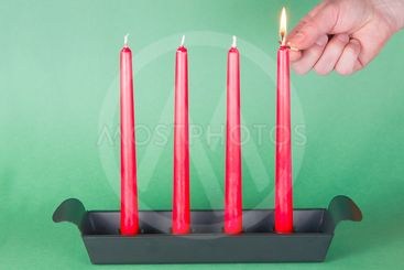 First of Advent, red candles, lighted