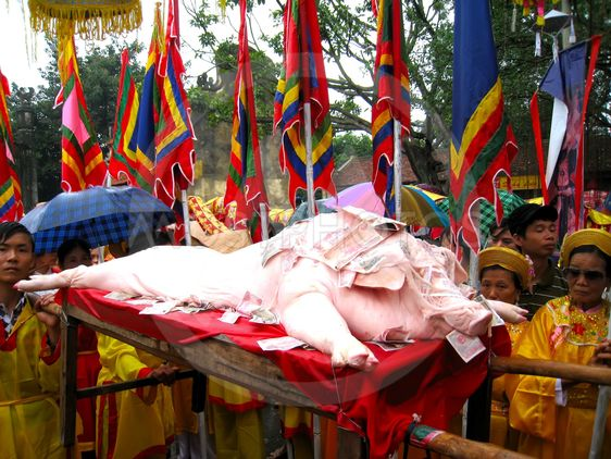 Group of people in traditional costume palanquin...