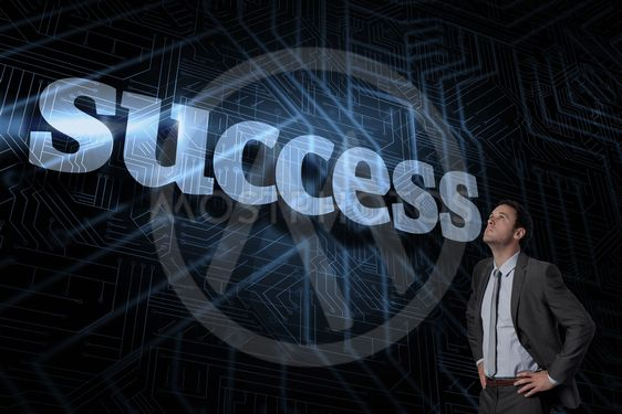 Success against futuristic black and blue background
