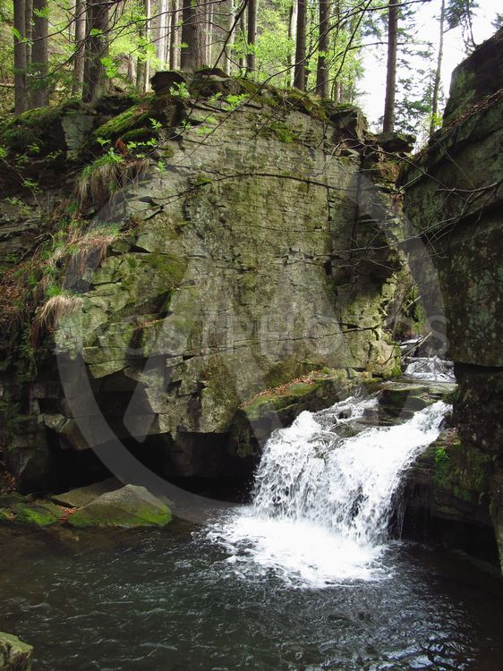 waterfall under the rock