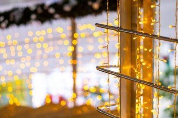 Selective focus on LED Christmas lights. Magical New...