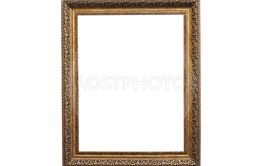 Vintage photo frame isolated on white background.