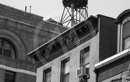 water tank in black and white in central New York City