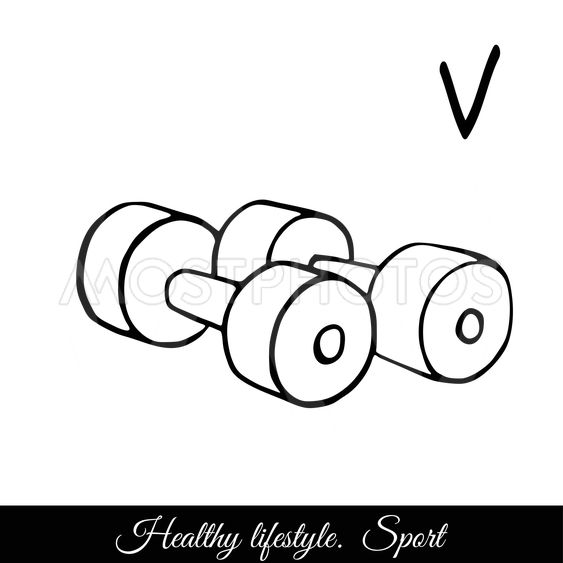 Dumbbells sketch vector icon. A call to play sports for...