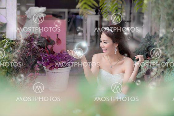 Pretty girl playing bubble