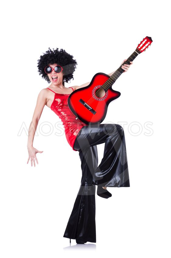 Young singer with afro cut and guitar