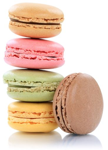 Macarons macaroons stack from France isolated