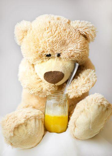 Teddy bear is eating honey