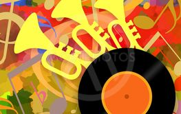 Music background with trumpets and vinyl disc