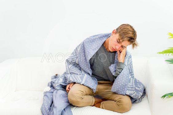 Guy having flu