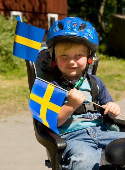 Nationaldagen firas, Upplands Väsby, Sverige.