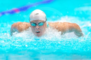 Swimmers at the National Swedish swim competition at...