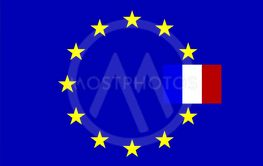 Flags, France and European Union