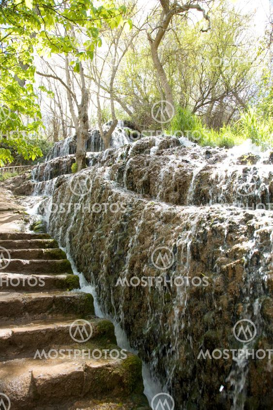 waterfall and stairs