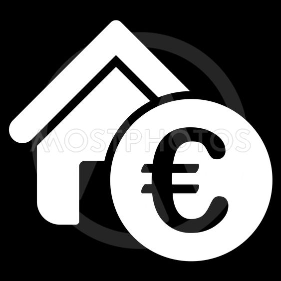 Euro Home Rent Flat Vector Icon