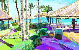 digital painting of summer beach landscape in Egypt with...