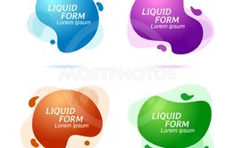 Gradient abstract flowing liquid shapes. Fluid design....