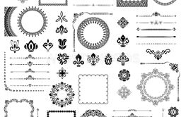Vintage Set of Horizontal, Square and Round Elements
