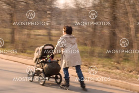 mother and baby walking