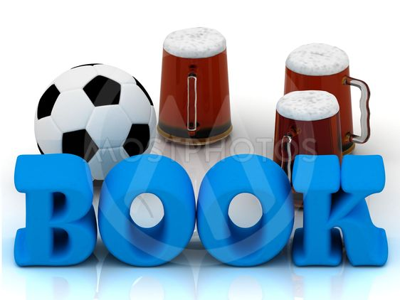 BOOK blue bright word, football, 3 cup beer