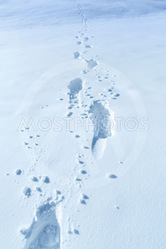 Winter background with footprints in the snow
