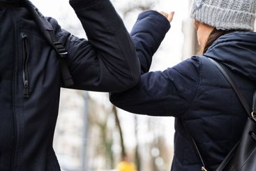 People Doing Elbow Bump To Prevent Covid-19 Virus Spread