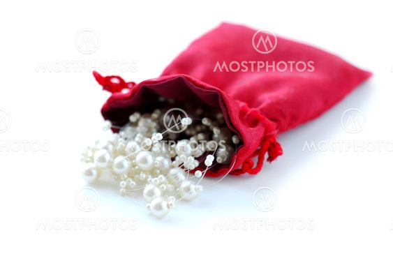 Pearls in red pouch