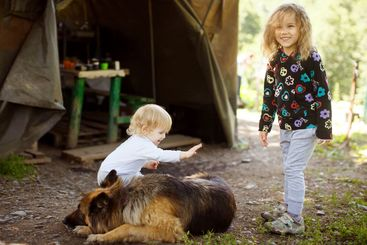 two little girls tent camp mountains petting   dog