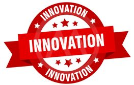 innovation ribbon. innovation round red sign. innovation