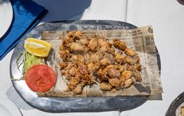 aerial view of tray with fried baby squids