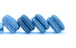 French sweet blue macaron cookies isolated on white