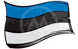 Painted Estonia flag waving in wind