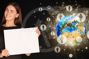 Businesswoman with Earth and contacts