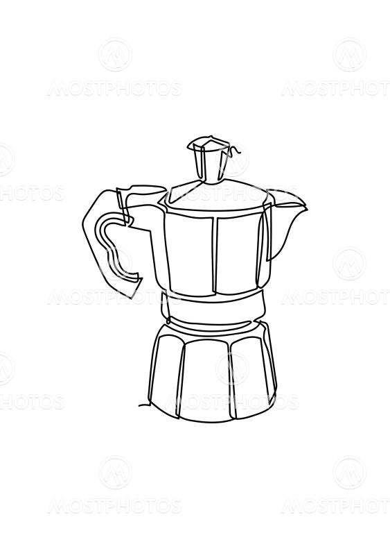 One Continuous line drawing of the coffee in modern...