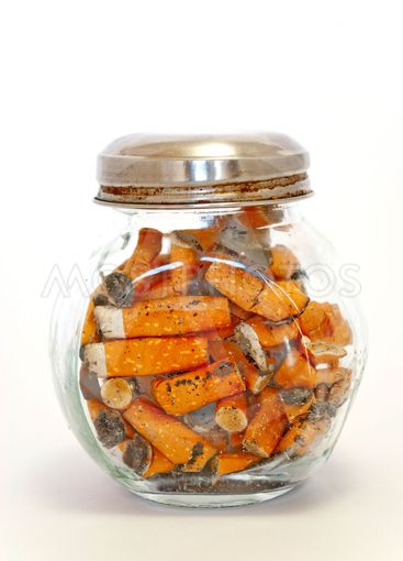 bottle with cigarette butts