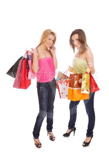 isolated two shopping women
