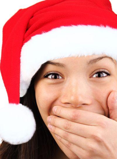 Happy surprised christmas woman