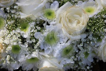 Detail of a white wedding bouquet