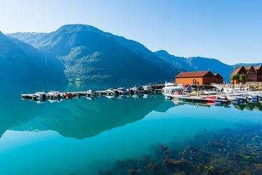 Harbor and boats in fjord