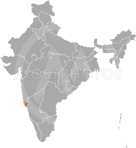Map Of India Goa Highlighted By Steffen Hammer Mostphotos