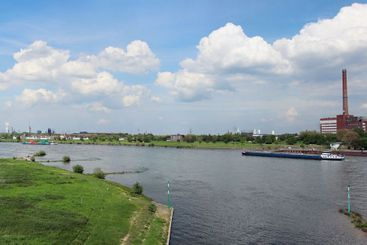 View over river rhine in city duisburg in germany